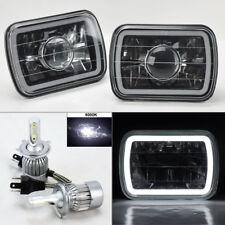"7X6"" Blk/Chm Projector Glass CCFL Halo Headlights & 6K 36W LED H4 Bulbs Ford"