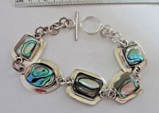 """7.25"""" Sterling Silver 25g ~26x20mm Abalone Inlay links Bracelet toggle clasp"""