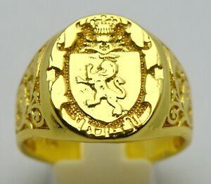 14 KARAT YELLOW GOLD PLATED 14K SIGNED RING COAT OF ARMS HERALDRY MEN'S RING