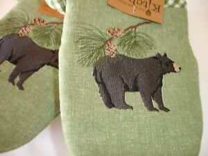 New! Wildlife Black Bear Oven Grabbers Mitts Kitchen Cotton Oven Mitt Grabbers