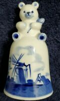 Vintage Delft Teddy Bear Windmill Bell Blue & White Hand Painted Dutch Holland