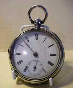 VICTORIAN CHUNKY ENGLISH LEVER KEY WIND POCKET WATCH - 1874 HALLMARK SILVER CASE
