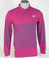 Nike Golf Sport Dri Fit Slim Fit Pink & Blue Long Sleeve Polo Shirt Mens NWT