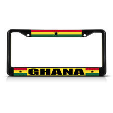 GHANA FLAG COUNTRY  Black Heavy Duty Metal License Plate Frame