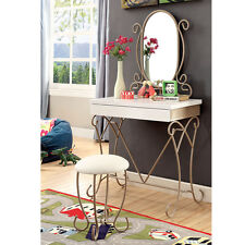 Enchant Youth Vanity Makeup Table Set Oval Mirror Lovely Champagne Curved Metal