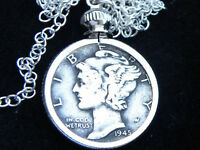 Necklace vintage silver real Mercury dime coin Various dates sterling chain