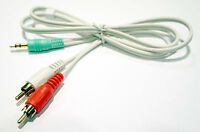 3ft 3.5mm Stereo TRS Green White to 2 x RCA Red White L / R  Male Audio Cable