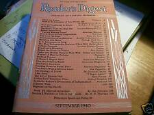 Vintage WW II Era READER'S DIGEST magazine SEPTEMBER 1940 136pp