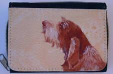 ITALIAN SPINONE DOG DENIM BLUE FABRIC PURSE WALLET SANDRA COEN ARTIST PRINT