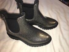 Michael Kors Tipton Rain Bootie Boots Gunmetal Silver Glitter SZ 10 NEW