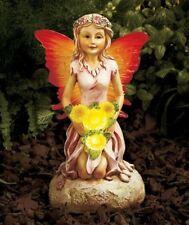 Solar Lighted Garden Fairy & Flowers Ceramic Wings Light Up.New