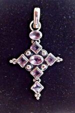 Superb Sterling & Amethyst Cross Pendant