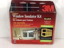 3M Indoor Window Insulator Kit 5 Window Clear Film & Scotch Tape Made in USA