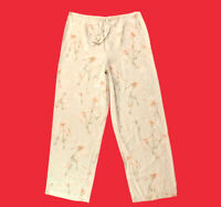 🌸 TOMMY  BAHAMA ... 100%  Silk  Cream  Tropical  Floral  Pants ... Size  14 🌸