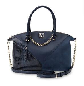 VICTORIAS SECRET Midnight Blue Slouchy Satchel Bag Handbag, Cross Body Strap