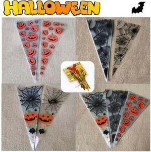 Cello Halloween Cone Sweet Treat Candy Party Wedding Favuor Gift  Bags Free Ties