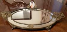Antique-Vintage Mirror Vanity Gold Tray Ceramic Cameo Leaf Pattern Vine Handles