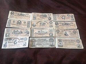 12 different Confederate States of America banknotes