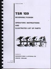 """RANSOMES """"TSR 109"""" aratro reversibile ISTRUZIONI E LIBRO ILLUSTRATO DELLE PARTI"""