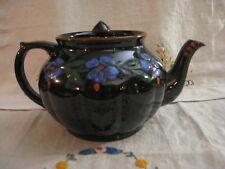 Vintage MacGibsons Teapot Pottery England Black Glossy Glaze Blue Flowers MCM EC