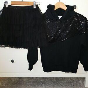 Zara Girls Sequin Hooded Sweatshirt Outfit & Tutu Black Skirt Age 10-11