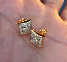 Men's VS1 Diamond Earrings 10K Gold Screw Back Stud Earrings Fully Iced 0.5 ct.