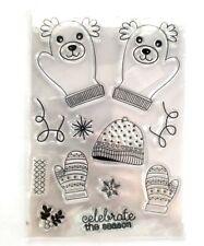 Sello de silicona Clara Scrapbook Tarjeta Navidad Reno Mitones Sombrero de coordinación