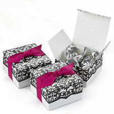 Black and White Damask Wedding Bridal Shower Favor Boxes 25/pk