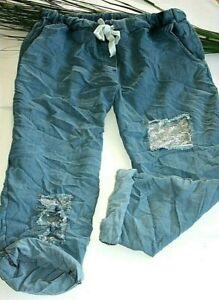 Jogpants Jeans Optik Pailletten Damen XXL - XXXL Stretch Hose Sweathose /H92-34