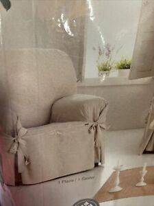 Eysa Italia Constanza Universal 1 Seat Sofa Cover with Ribbons, 100% Cotton