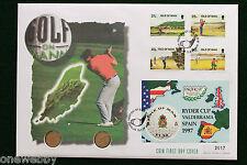 1997 Isola di Man-RYDER CUP valderama SPAGNA COPRI e monete 2 x 5p SNo38749