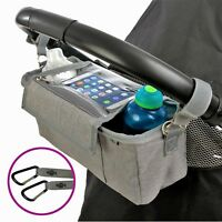 BTR Buggy Organiser Pushchair Pram Bag PLUS 2 x Pram Clips & Mobile Phone Pocket