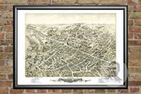 Old Map of Peabody, MA from 1877 - Vintage Massachusetts Art, Historic Decor