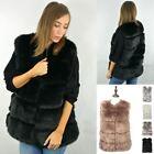 New Luxury Womens Soft Faux Fur Waistcoat Jacket Winter Coat Outwear Warm