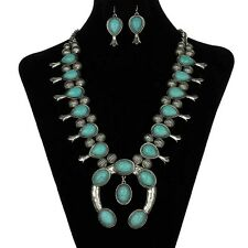 NICE Squash Blossom Necklace Set Antiqued Silver Turquoise Fashion Jewelry