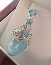 SALE ! OUTSTANDING PENDANT HANDMADE OF STERLING SILVER 925 w/ GENUINE TURQUOISE