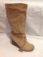 Faith Beige Mid Calf Suede Boots Size 7