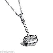 Pd:Edelstahl Antiksilber Thor's Hammer Anhänger Halskette Herrenschmuck