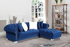 Luxury Chesterfield Corner Sofa Fabric/Velvet Grey Blue Black Left/Right Chaise
