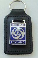 BRITISH LEYLAND ENAMEL BADGED LEATHER KEYRING, KEY CHAIN, KEY FOB