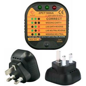 UK Plug Socket Tester Mains Fault Checker Detector AC 220-250V Malfunction New