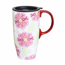 Pink Ribbons of Courage Breast Cancer Awareness 17 oz. Ceramic Travel Mug w/ Lid