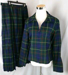 Vintage Pendleton Womens Sz 6 8 Plaid Wool Jacket Skirt Suit Christmas Made USA