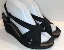 Donald J Pliner Jemm Black Stretch Wedge Cork Heels Size 7 M Espadrilles Sandals