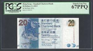 Hong Kong 20 Dollars 1-1-2013 P297c Uncirculated Grade 67