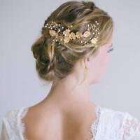 Handmade Pearl Leaf Flower Bridal Hair Comb Wedding Headpieces Hair Jewelry