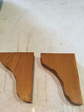 Two (2) Finished Pine Shelf Brackets. Golden Oak Finish.