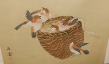 Japanese Birds In A Brown Basket Original Watercolor Painting Signed