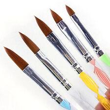 5Pcs Acrylic 3D Painting Drawing UV Gel Brush Pen Nail Art Tool No. 4/6/8/10/12