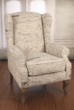 Wingback Chair French Script Linen Oak French Provincial Arm Chair 100% Linen